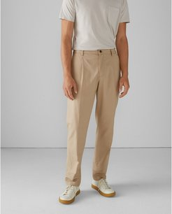 Khaki Pleated Tencel Cotton Pants in Size 30