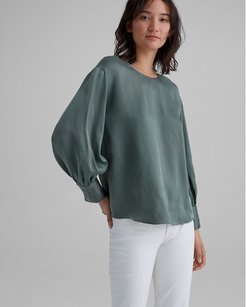 Green Balloon Sleeve Blouse in Size XS