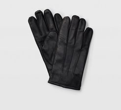 Black Tech-Enabled Leather Gloves in Size M