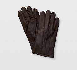 Brown Tech-Enabled Leather Gloves in Size M