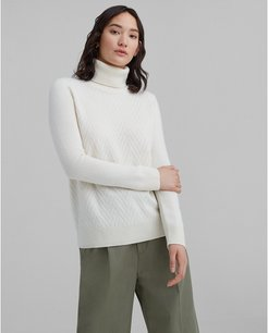 Ivory Mixed Stitch Cashmere Turtleneck Sweater in Size XS