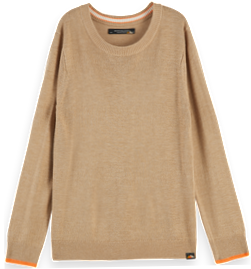 Lightweight knit pullover with contrast detail