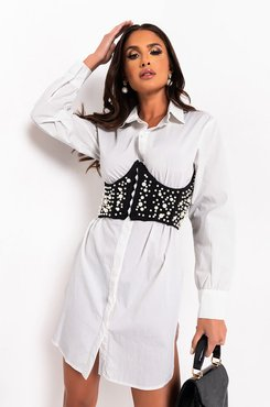 All The Things Pearl Corset Shirt Dress
