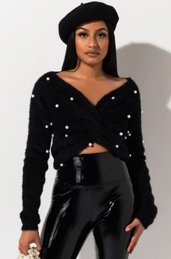 Pretty In Pearls Twisted Hem Cropped Sweater