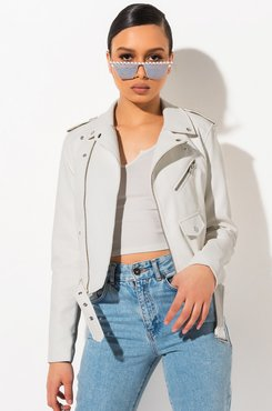 Really Dont Care Crop Moto Jacket