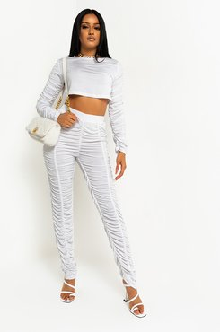 Stack It Up Ruched Long Sleeve Crop Top