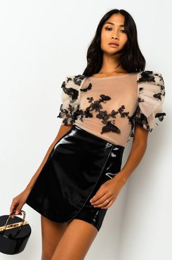You Give Me Butterflies Puff Sleeve Mesh Blouse