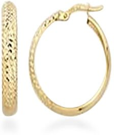 Vicenza Collection 9K Yellow Gold Diamond Cut Hoop Earrings