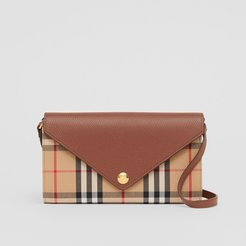 Vintage Check and Leather Wallet with Detachable Strap, Brown