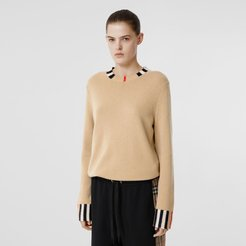 Icon Stripe Trim Cashmere Sweater, Beige