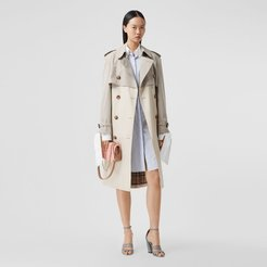 Two-tone Reconstructed Trench Coat, Size: 10, Beige