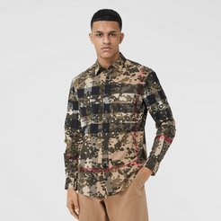 Camouflage Check Stretch Cotton Poplin Shirt