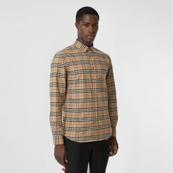 Small Scale Check Stretch Cotton Shirt, Size: XL, Beige