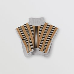 Childrens Reversible Icon Stripe Merino Wool Jacquard Poncho, Beige
