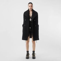 Wool Oversized Pea Coat, Size: 06, Black