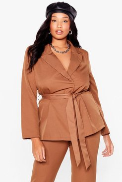 Suits You Plus Belted Blazer - Camel