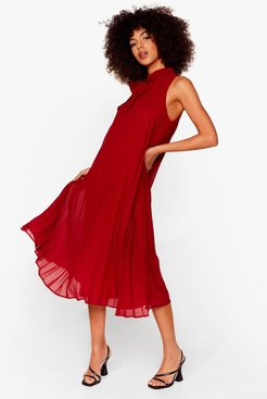 Do It With Trapeze Pleated Midi Dress - Berry