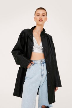 Oversized Faux Leather Jacket - Black