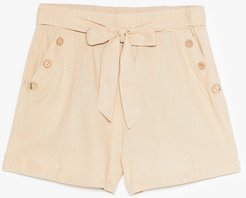 Get Button With It High-Waisted Belted Shorts - Beige