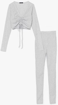 Meant to Be Together Ruched Top and Leggings Set - Grey