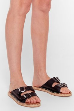 You Know the Espadrille Faux Leather Sandals - Black