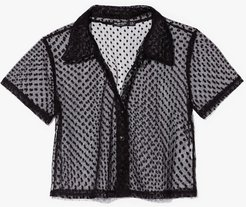 Mesh Get to It Cropped Spotty Shirt - Black