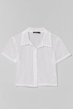 Mesh Get to It Cropped Spotty Shirt - White