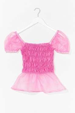 Come Over Sheer Shirred Puff Sleeve Top - Pink
