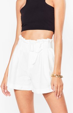 Wanna Be Tie Lover Belted Paperbag Shorts - White