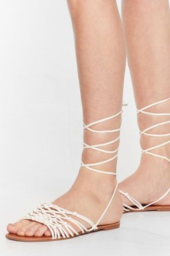Lace Work It Out Faux Leather Flat Sandals - White