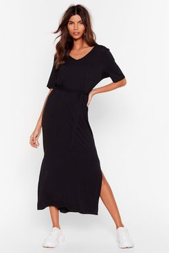 Tie'rd of the BS Belted Midi Dress - Black