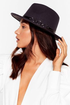 We Don't Know a Ring Faux Wool Fedora Hat - Dark Grey