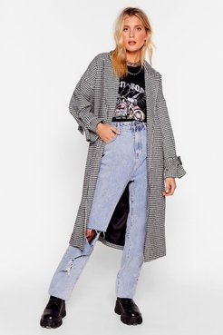 s Houndstooth or Dare Belted Trench Coat - Black