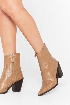 Skip to the West Part Faux Leather Croc Boots