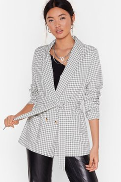 s Hear You're Doin' Line Belted Check Blazer - White