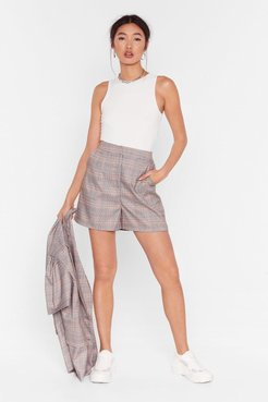 Check It Over High-Waisted Shorts - Grey
