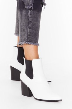 Faux leather heeled chelsea boots
