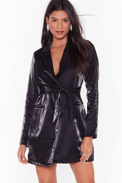 Doin' Just Shine Belted Blazer Dress - Black