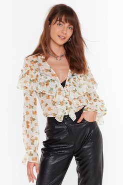 Downhill from Sheer Floral Ruffle Blouse - White