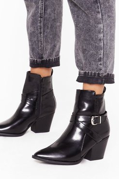 Don't Buckle Under Pressure Faux Leather Boots - Black