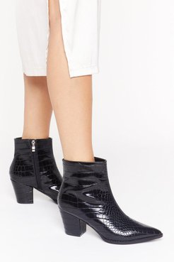 Pop Croc and Drop Faux Leather Block Heel Boots - Black
