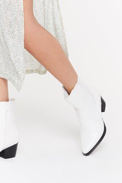 High Ankle Western Boot - White