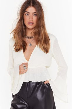 Plunge Forward Cropped Blouse - White