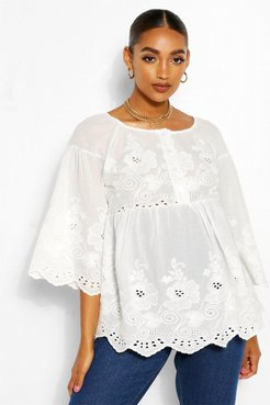 Maternity Scallop Broiderie Anglais Smock Top - White - 12