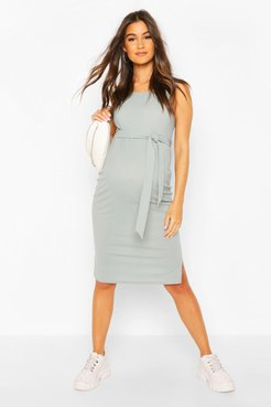 Maternity Ribbed Tie Midi Dress - Grey - 12