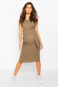Maternity Ribbed Tie Midi Dress - Green - 12