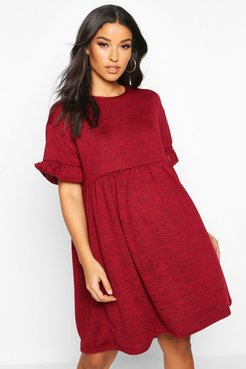 Maternity Knitted Smock Dress - Red - 12