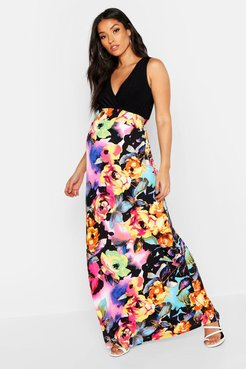 Maternity Floral Maxi Dress - Multi - 8