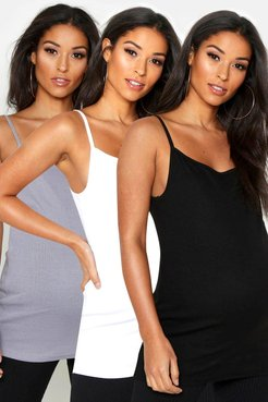 Maternity 3 Pack Ribbed Camisole - Multi - 6