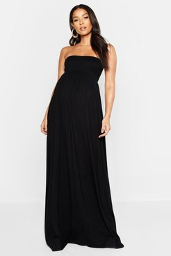 Maternity Shirred Maxi Dress - Black - 6